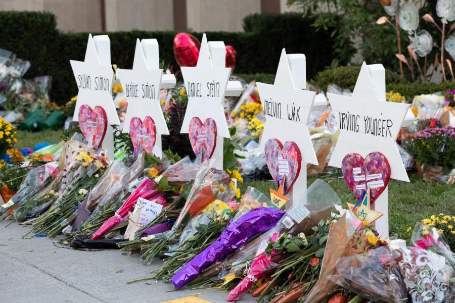 A memorial dedicated to the victims of the Pittsburgh mass shooting stands outside the Tree of Life synagogue.  On Saturday, 11 people were killed and six were injured during a massacre allegedly fueled by anti-Semitism. (Photo by Andrea Hanks/White House)