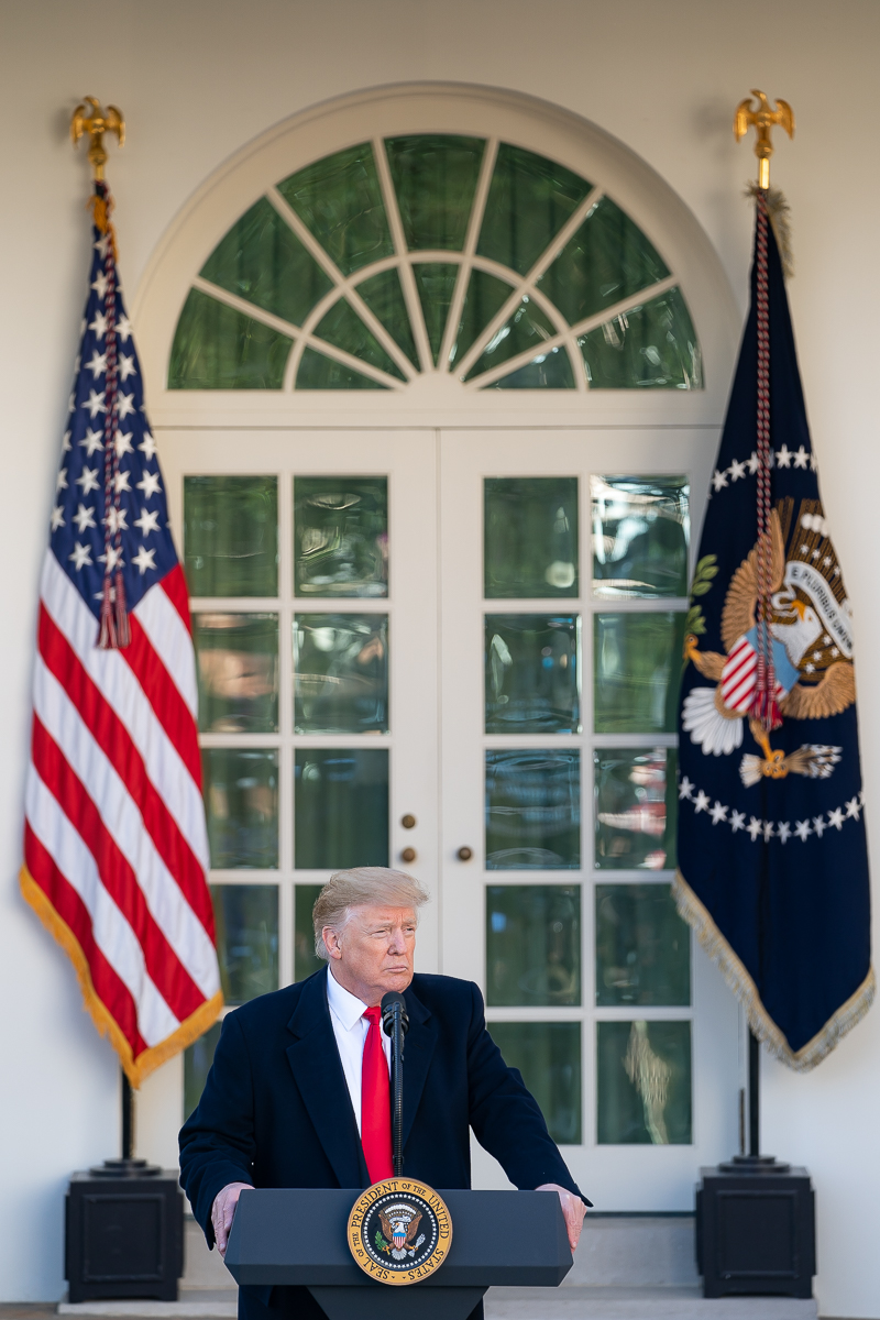 President Donald Trump delivers an address on the state of the government shutdown in the Rose Garden. On Jan. 25,  Trump signed a bill to temporarily reopen the government. (White House/Tia Dufour)