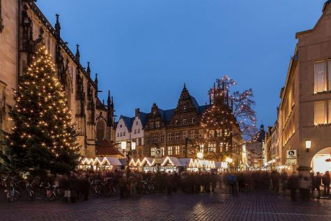 In Germany, a holiday market prepares for the commercial season.