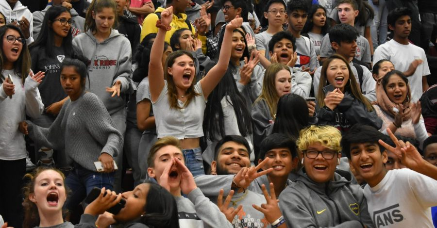 The sophomore section cheers in victory as their representative Prince Amarante wins the pep rally game.