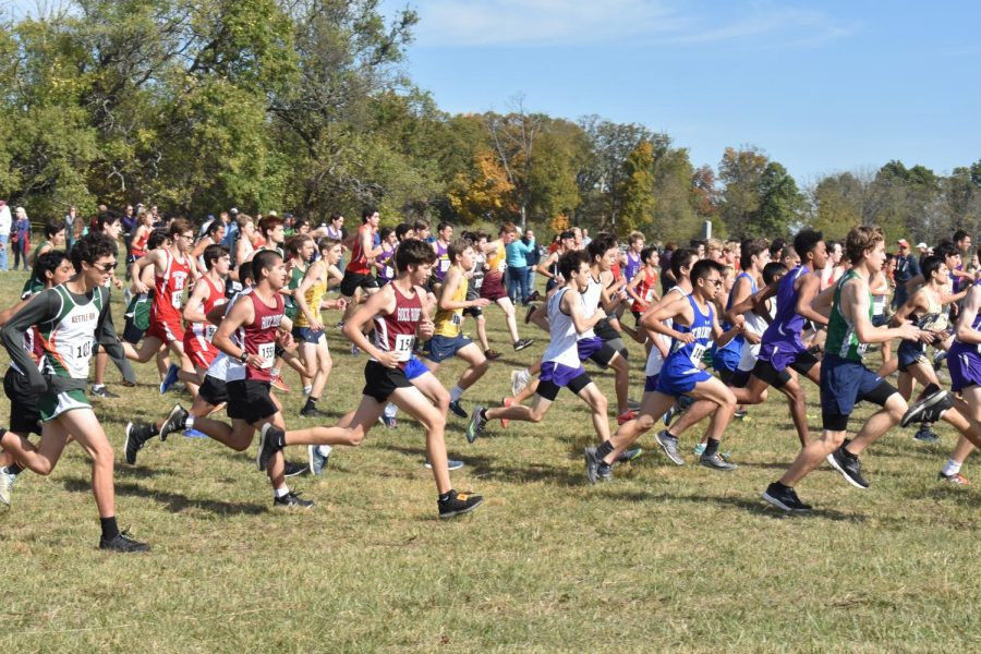 Runners from all different schools compete in the cold  for the VHSL Cross Country State Championship.