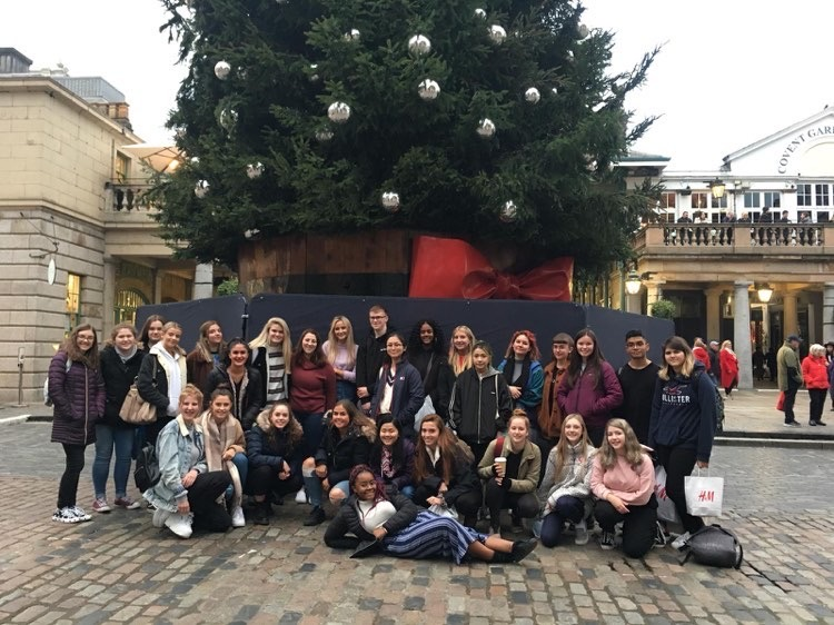 Rock Ridge students with their hosts in the Jubilee Market in London.