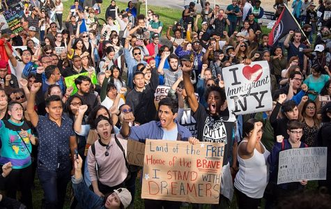 Concerned citizens in New York City rally in response to Trump's decision to revoke DACA.