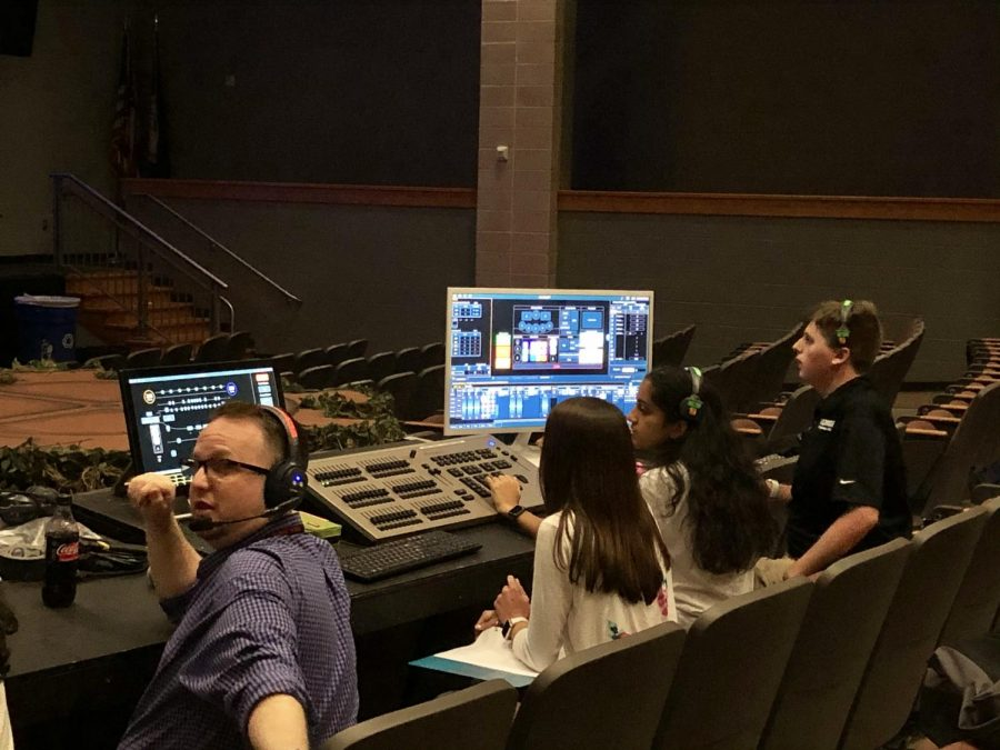 Mr. Cimino-Johnson works with tech crew during the afterschool Dry Tech on October 22.