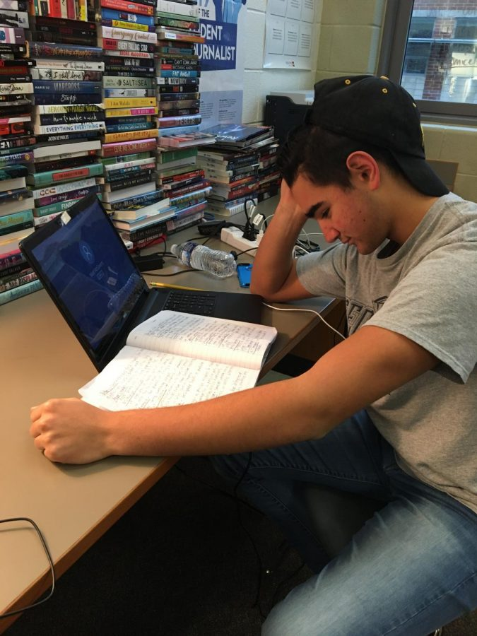 High school students, like senior Conner McGovern, spend hours daily studying and working on homework and projects in order to maintain good grades. To many students the grades they get in high school determine if they go to a good college or get a secure job in the future.