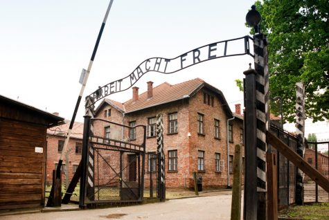 "A sign reading ""Arbeit Macht Frei"" is located outside of Auschwitz, a complex of Nazi concentration camps, translating to ""work sets you free.""  This false message greeted the victims of Adolf Hitler's concentration camps, which he formed as an attempt to wipe out Jews and other groups of people during World War II."