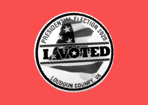 "A distorted image of an ""I Voted"" sticker from Loudoun County. (Photo courtesy of Katy Greiner)"